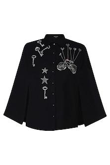 Black Key, Bicycle and Stars Motifs Shirt Cape by Shahin Mannan