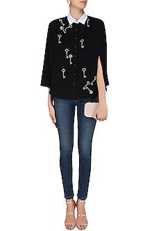 Black Gunmetal Key Motifs Shirt Cape by Shahin Mannan