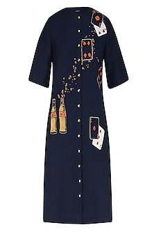 Deep Blue Coca Cola and Playing Cards Motifs Shift Dress by Shahin Mannan