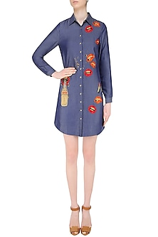 Blue Embroidered Lips and Coca Cola Motifs Shirt Dress by Shahin Mannan