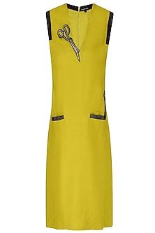 Ochre Yellow Scissors Motifs Sleeveless Dress by Shahin Mannan