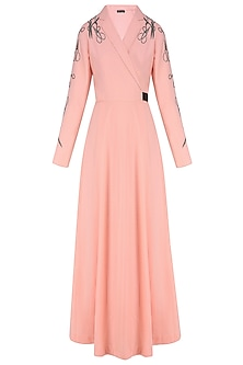Peach Embroidered Scissors Motifs Overlapped Dress by Shahin Mannan