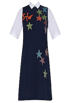 Navy Blue Embroidered Star Motifs Shift Dress by Shahin Mannan
