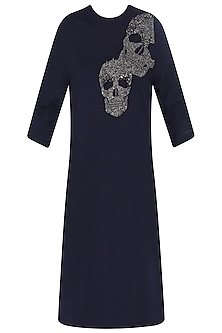 Navy Blue Embroidered Skull Motifs Shift Dress by Shahin Mannan