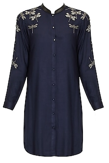 Navy blue dragonflies embroidered motifs shirt dress by Shahin Mannan