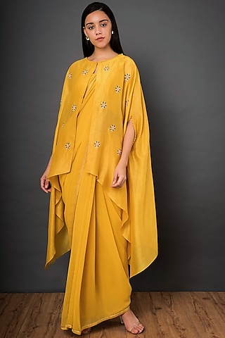 Mustard Yellow Embroidered Saree Set by Shikha Mehta