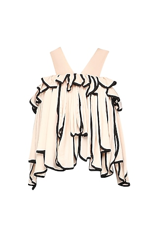 Beige Ruffles Embellished Top by Shian