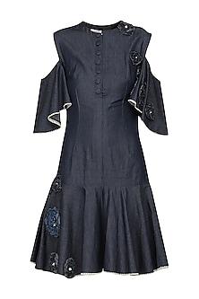 Blue Cold Shoulder Dress by Shian