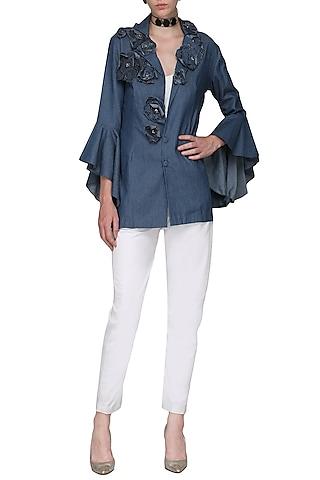 Blue Embellished Jacket by Shian