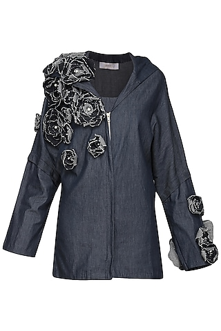 Blue Embellished Zipper by Shian