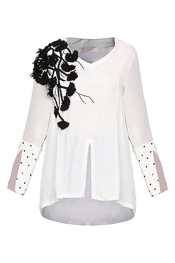 White Embellished Blouse by Shian