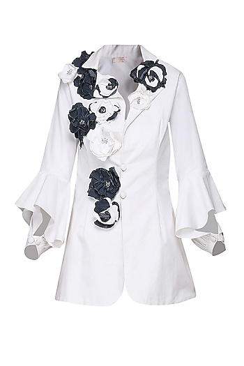 White Embellished Denim Jacket by Shian