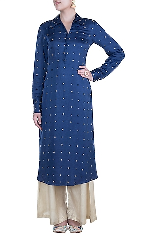 Blue Embroidered Tunic by Shilpa Reddy