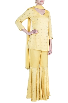 Yellow Embroidered Sharara Set by Shilpa Reddy