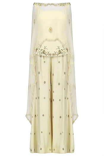 Off White Embroidered Top with Palazzo Pants and Cape Set by Shilpa Reddy