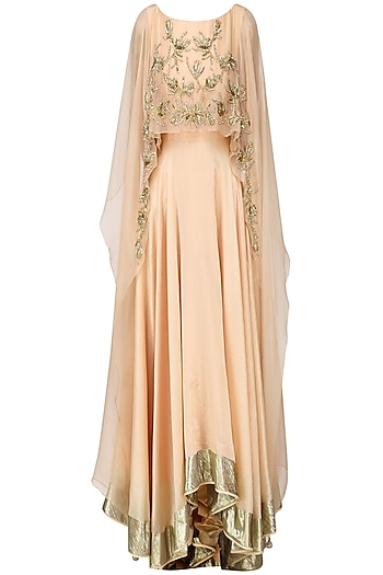 Peach Paisley Embroidered Cape Anarkali Set by Shilpa Reddy