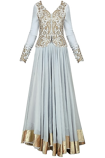 Dust Blue Embroidered Jacket with Skirt Set by Shilpa Reddy