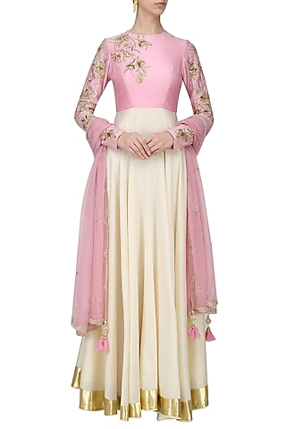 Candy Pink and Cream Embroidered Anarkali Set by Shilpa Reddy