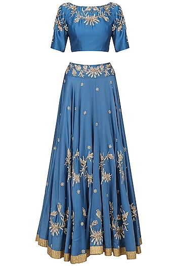Royal Blue Embroidered Lehenga Set by Shilpa Reddy