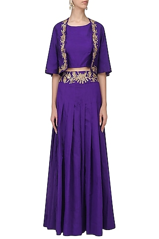 Violet Embroidered Crop Top with Lehenga and Jacket Set by Shilpa Reddy