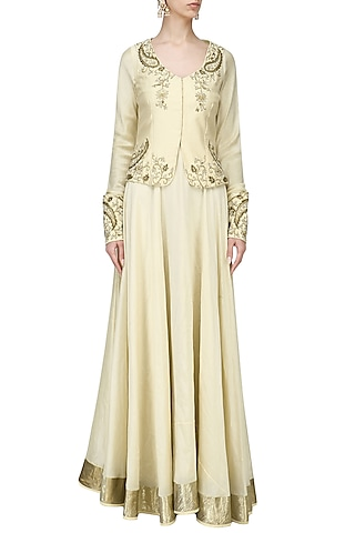 Beige Embroidered Jacket with Lehenga Set by Shilpa Reddy