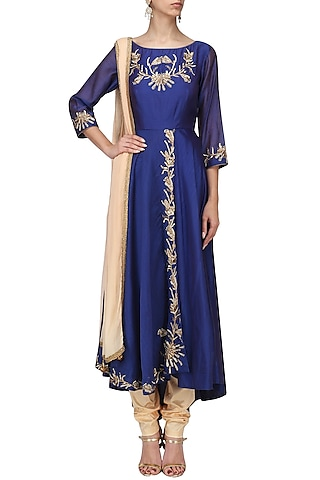 Royal Blue Embroidered Anarkali Set by Shilpa Reddy