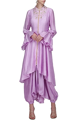 Lavender Asymmetrical Embroidered Tailcoat with Harem Pants by Shilpa Reddy