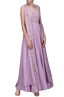 Lavender Embroidered Front Open Jacket with Gown by Shilpa Reddy
