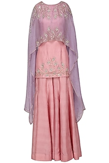 Lavender Asymmetrical Embroidered Cape with Pink Top and Flare Pants by Shilpa Reddy