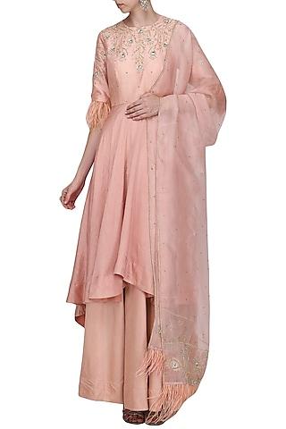 Light Pink Asymmetrical Embroidered Anarkali Set by Shilpa Reddy
