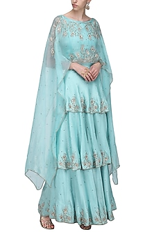 Powder Blue Crop Top with Cape and Layered Lehenga Skirt by Shilpa Reddy