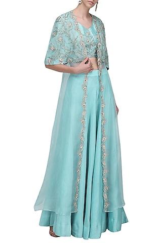Aqua Blue Embroidered Lehenga Set by Shilpa Reddy