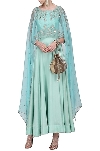 Powder Blue Asymmetrical Embroidered Cape and Sea Green Gown by Shilpa Reddy