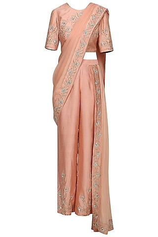 Peach Embroidered Draped Saree Set by Shilpa Reddy