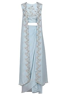 Light Blue Embroidered Lehenga Skirt Set by Shilpa Reddy