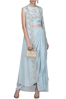 Light Blue Embroidered Lehenga Skirt Set by Shilpa Reddy