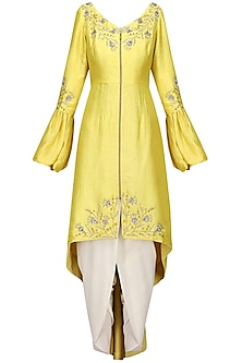 Lemon Yellow Front Open Aysmmterical Tunic with Dhoti Pants by Shilpa Reddy