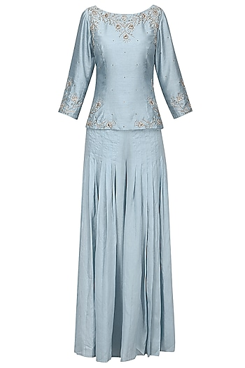 Powder Blue Embroidered Top with Pleated Pants and Dupatta by Shilpa Reddy