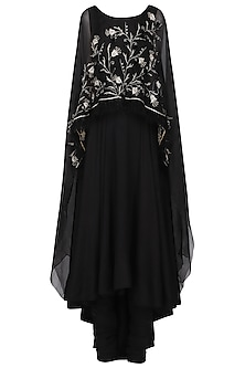 Black Embroidered Anarkali Set by Shilpa Reddy