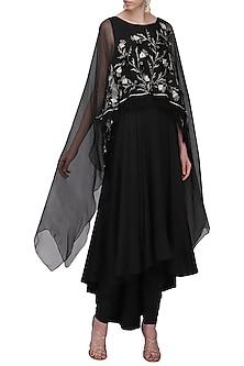 Black Embroidered Anarkali Set by Shilpa Reddy