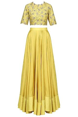 Lemon Yellow Embroidered Lehenga Set by Shilpa Reddy