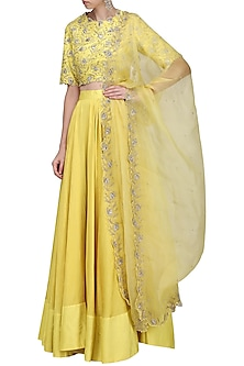 Lemon Yellow Embroidered Lehenga Set by Shilpa Reddy
