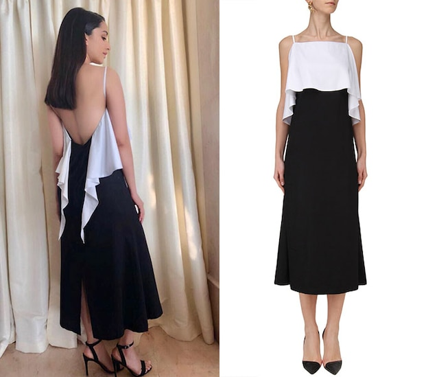 Black and White Fitted Frill Dress by Ankita