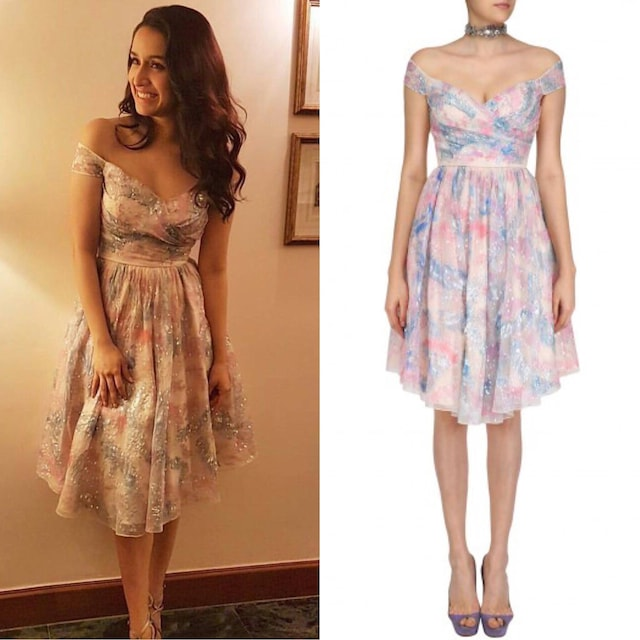 Powder Blue, Pink and Purple and Cloud Print Off Shoulder Dress by Shehla Khan