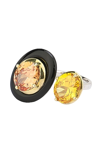 Gold Plated Black Onyx, Tangerine and Yellow Cubic Zirconia Stones Finger Ring by Shruti Agrwal