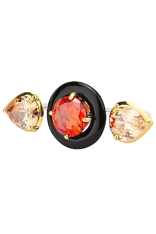 Gold Plated Black Onyx, Red and Peach Cubic Zirconia Stones Multi-Finger Ring by RockkRagaa