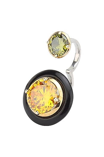 Gold Plated Black Onyx, Gold and Green Cubic Zirconia Stones Finger Ring by Shruti Agrwal