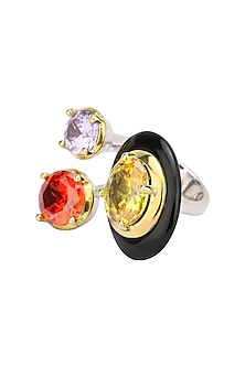 Gold Plated Black Onyx and Multi Coloured Cubic Zirconia Stones Double Finger Ring by Shruti Agrwal