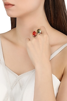 Gold Plated Pear Shaped Red and Green Cubic Zirconia Stones Finger Ring by Shruti Agrwal
