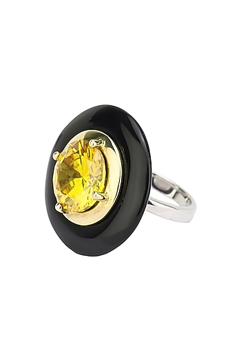 Gold Plated Black Onyx and Yellow Cubic Zirconia Stone Finger Ring by RockkRagaa